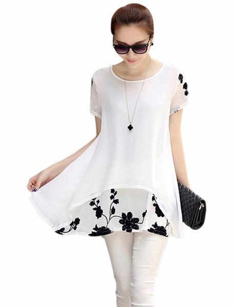 S-XXXXL womens summer dresses summer loose vintage Short sleeve plus size dress chiffon white/black dresses women clothing
