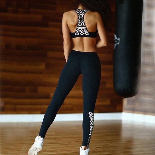 New Women Yoga Sets Black Color Print Sport Bra Top And Pants Female Running Tights Gym Fitness Sexy Sportswear