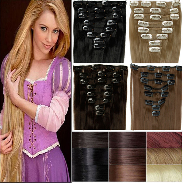 5A - 180g/pc 10pc/set 100% real human hair/lndian hair clips in extensions real straight full head high quality