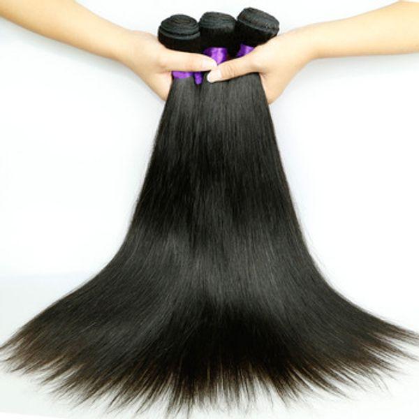9a brazilian virgin traight hair weave malay ian peruvian indian cambodian 100 unproce ed human hair bundle double weft, Black