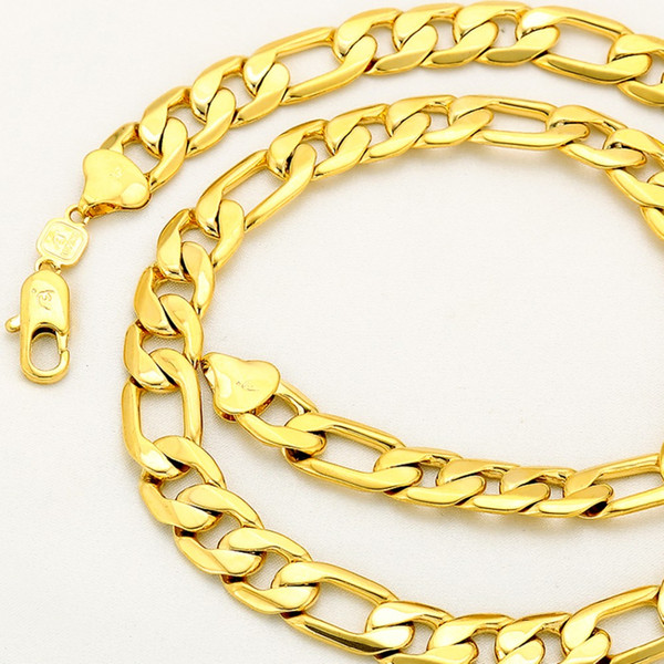 Heavy Chain 24k Yellow Gold Filled Mens Necklace Chain 24in Long,12mm Wide