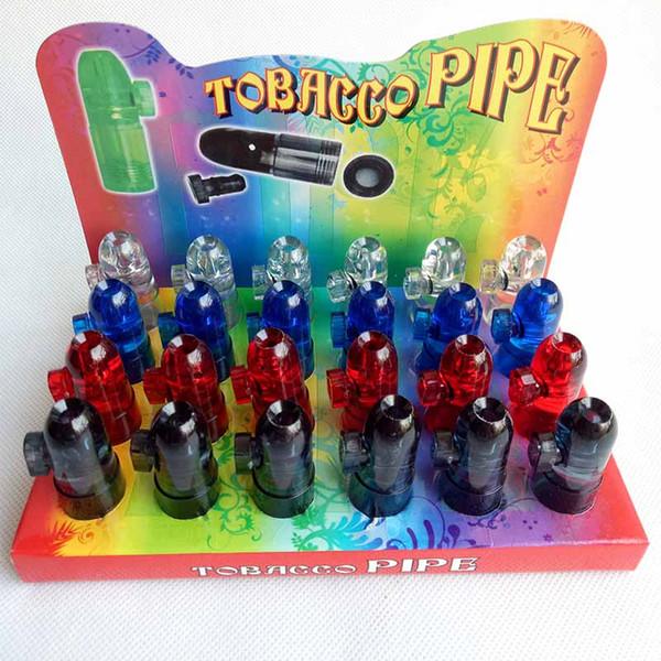 Dispensador de Snuff de plástico Bala Foguete Snorter cachimbos de bongo máquina de rolamento de cigarro Tubo de tabaco 4 cores caixa de exibição Bubblers