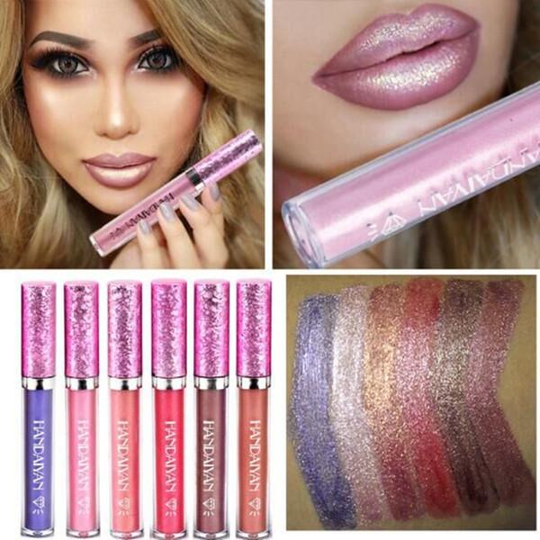 HANDAIYAN 6 Colors Glitter Lip Gloss Liquid Shimmer Matte Lipstick Waterproof lipgloss factory price best selling