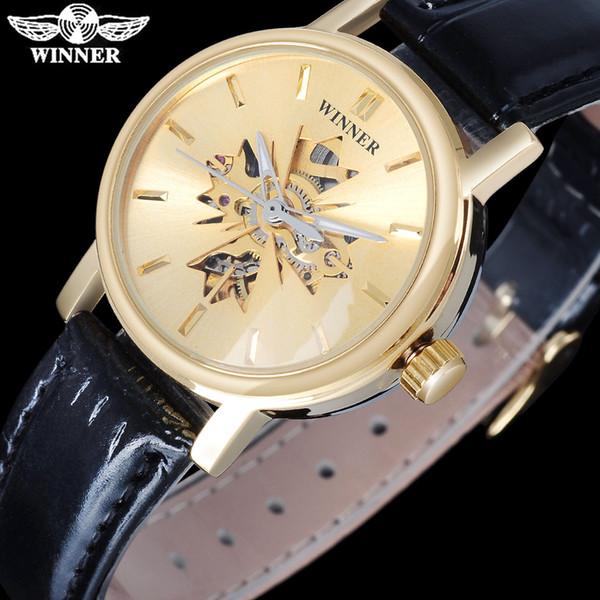 GANADOR Famosa Marca Mujeres Relojes Mecánicos de Lujo Automático Automático Viento Reloj Esqueleto Dials Caja de Cuero Banda de Cuero SLZb01