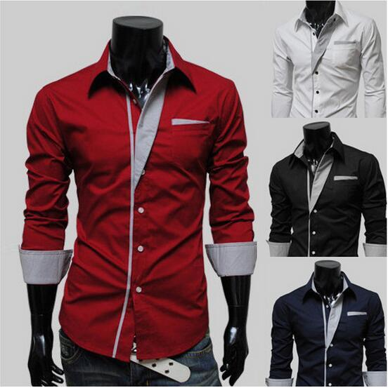 Brand New 4Colors Man Shirts Long Sleeve Single-breasted Pocket Dress Shirts Men Clothing Patchwork Turn-down Autumn Plus Size M-3XL