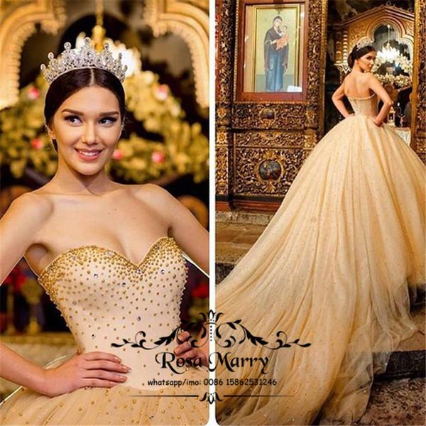 Vestidos Para Criança Luxo Ouro Doce 16 Vestidos Quinceanera 2020 Vestido De Baile Querida Cristais Pérolas Meninas Debutante Masquerade Vestidos De