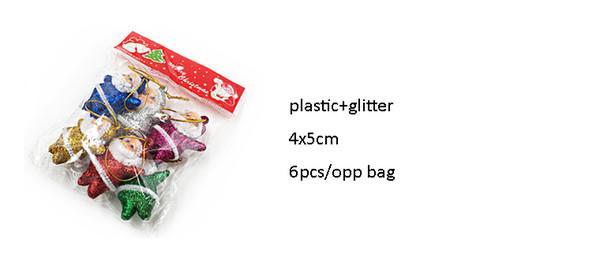 Mini Sevimli Noel Plastik ve Glitter Noel Baba Oyuncaklar Noel Ağaçları Süslemeleri Için Çanta başına 6 ADET ELCD021