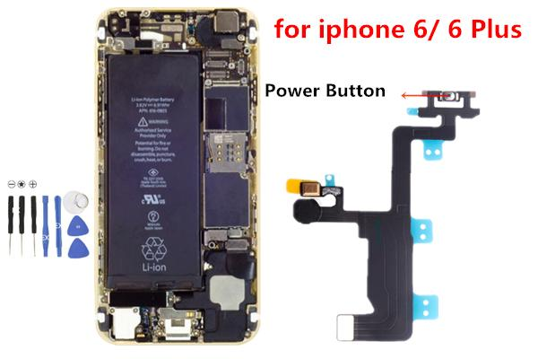 10pcs Power On Off Button Switch Flash Flex Cable Repair Parts For iPhone 6 4.7 inch iPhone 6 plus 5.5 inch
