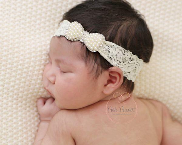 Fasce per capelli in pizzo per neonato Ragazze Strass di lusso lucido Perle Fasce per capelli Per bambini Principessa Fasce per capelli Copricapo Per bambini Accessori per capelli KHA517
