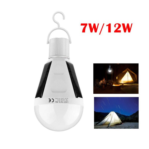 top popular 7W 12W E27 Solar Powered LED Bulb Rechargeable Emergency Lights Lamp for Camping Hiking Solar Barn Tent Fishing Emergency Lighting Indoor 2019