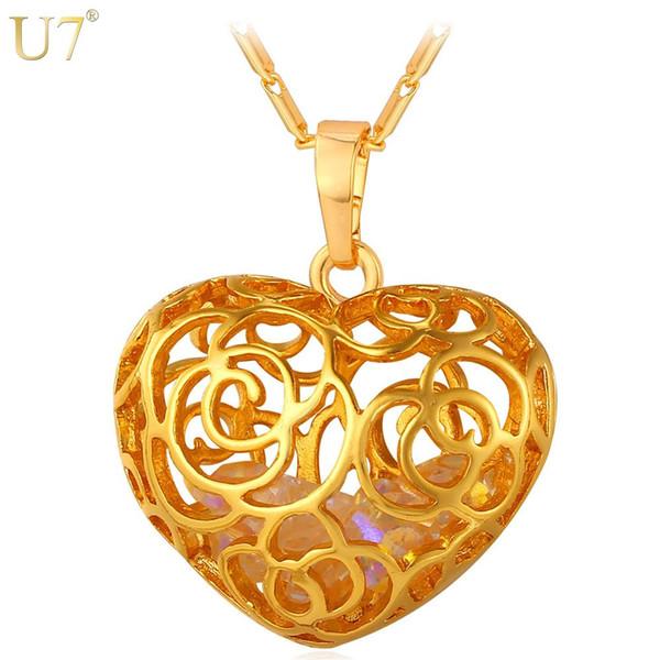 Benzersiz Yeni Trendy Çiçek Hollow Kolye Kolye Toptan Platin / 18 K Gerçek Altın Kaplama Kristal Taş Kadınlar Kalp Takı Hediye P800