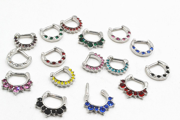 100pcs Trendy Nose Septum Clicker Rings Body Piercing Jewelry Stainless Steel Bar Nose Open Hoop Ring Nose Piercing 14g 16g