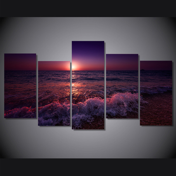 5 Pcs/Set Framed Printed greece ionian sea evening sky Painting on canvas room decoration print poster picture canvas Free shipping/ny-4953