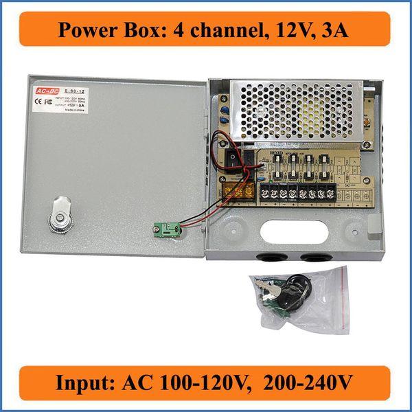 4 Channels DC 12V 3A CCTV Camera Power Box Switching Power Supply Box for surveillance Security Camera 4CH Port 100V-240V Input