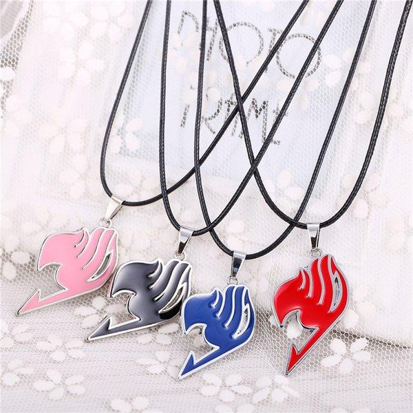 4 farben Beliebte Fairy Tail Halskette Mode Anime Cosplay Zeichen Anhänger Halskette Mit Schwarzem Leder Seil Dual Zweck Schmuck Keychain
