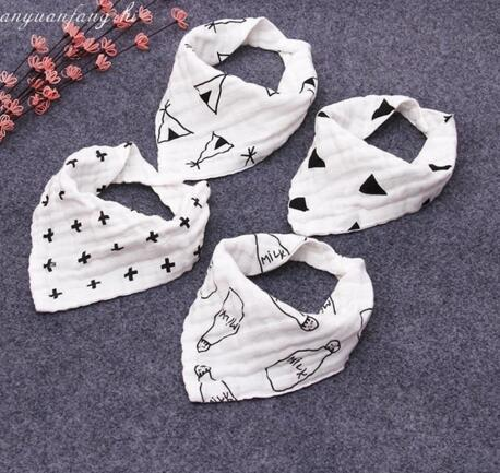 INS 12 style baby bibs 100% cotton Lunch Bibs/ Towel Saliva Baby Kids Infants 4 layers of gauze washed with water bath towel