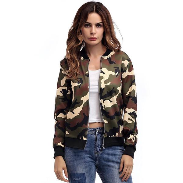 Mulheres Outono Casaco Jaqueta Camuflagem Militar Do Exército Inverno Verde Jaquetas Outwear Feminino Zipper Tops Jaqueta Casaco 2017