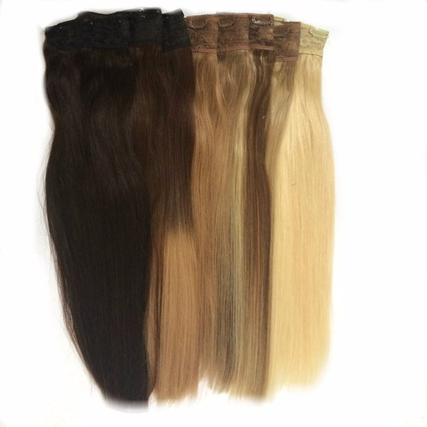 16 18 20 22 24 80g Quad Weft One Piece Clip In Hair Extensions Black