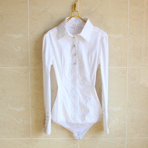 New Style Women Bodysuit Blouse Ladies Career Slim Long Sleeve Button Down Cotton Shirts Tops Clothes S/M/L/XL Free shipping