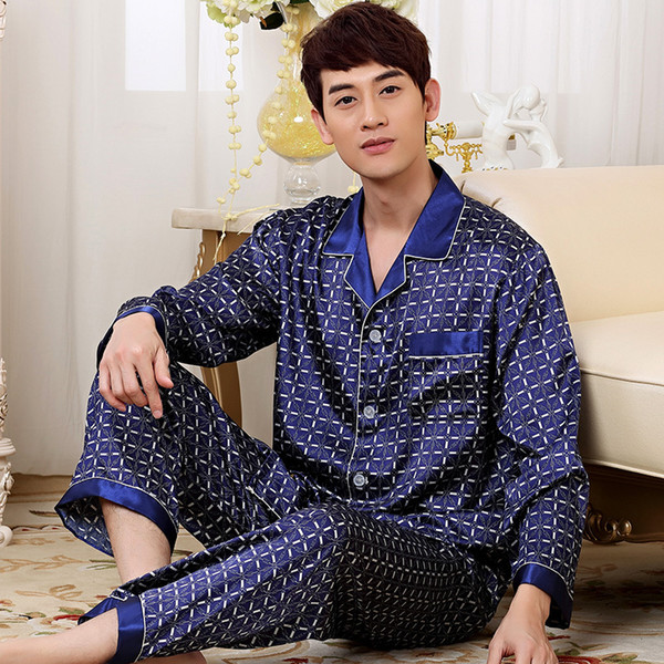 Atacado-2016 New Luxury Silk Satin Pijamas Set Homens de manga comprida Calças Pijamas Sleepwear Mens Set Plus Size 3XL