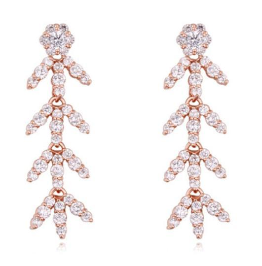 Fashion Jewelry Women High Quality Cubic Zirconia Chandelier Earrings Luxury Exquisite 18K Gold Plated Leaves Drop Earrings TER024
