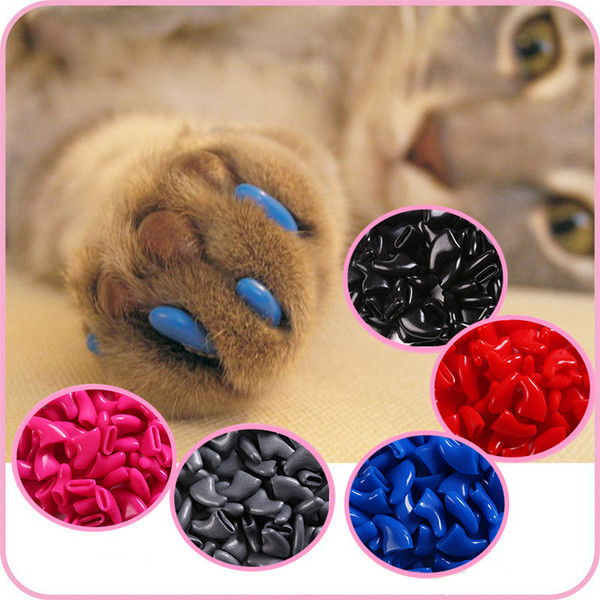 500 pcs - Cats Kitten Paws Grooming Nail Claw Cap+5 Adhesive Glue+5 Applicator Soft Rubber Pet Nail Cover/Paws Caps Pet Supplies