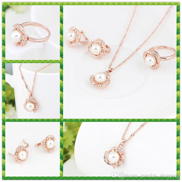 Fashion Pearl Pendant Necklace+Earrings+Rings jewelry Sets with Austrian Crystal High-grade rose gold plated necklace stud ring Sets