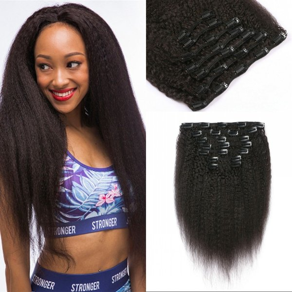 Indian Kinky Straight Hair Clip in Human Hair Extensions Natural Color Remy Hair Clip-ins 120G for African American G-EASY
