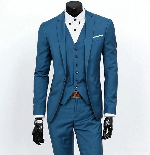 Birçok Renk Mevcut 2016 Kore Pop Slim Fit Damat Smokin Siyah Gri Açık Yeşil Mavi Notch Yaka Blazers Düğün Takımları - y016