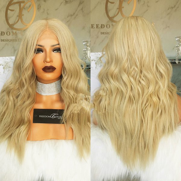 Malaysian Blonde Human Hair Full Lace Wig Body Wavy 613 Color Remy Hair Middle Part With Bleached Knots Hand Tied