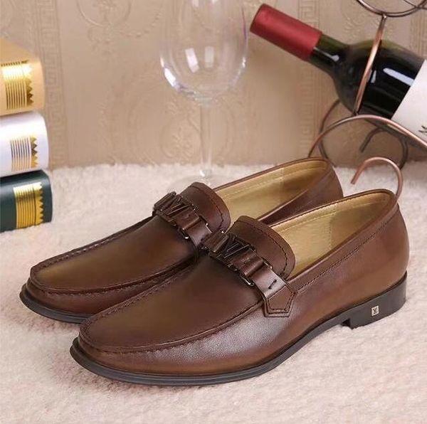 Marque italienne boucle designer mocassins mens chaussures formelles en cuir véritable fait à la main noir brun hommes chaussures pour mariage