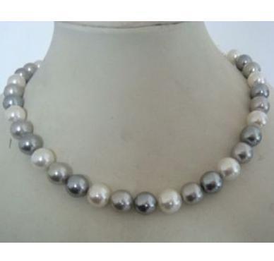 Encantador 9-10mm tahitian dois cinza um colar de pérolas brancas 18inch 925 fivela de prata
