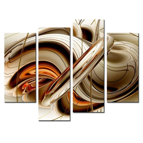 Amosi Art-4 Pieces Wall art Painting Set Flowing Lines Modern the picture Print On Canvas Abstract Picture for Home Decor(Wooden Framed)