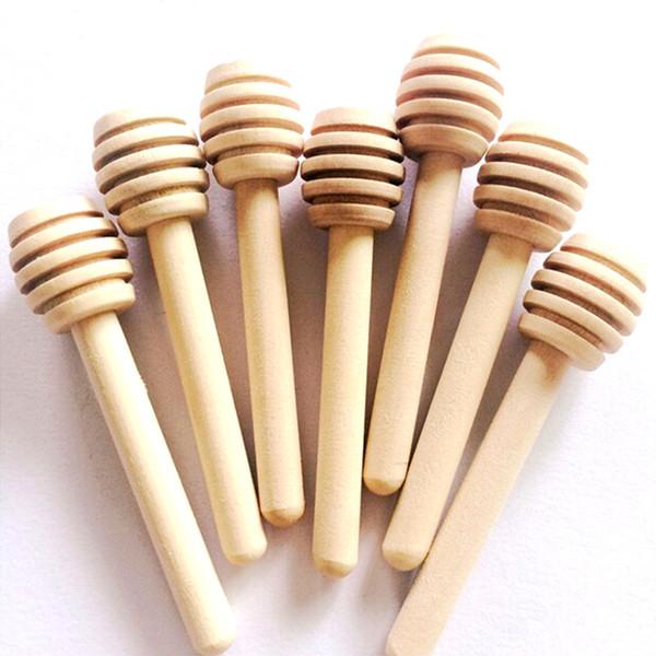 top popular 8cm Mini Wooden Honey Stick Honey Dippers Party Supply Spoon Stick Honey Jar Stick High Quality 2019