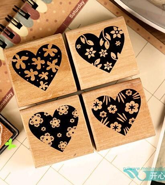 Wholesale-(Min Order is $6)(24 Styles) DIY Scrapbooking Stamps Vintage Wooden Box Rubber Crafts Ink Pad Vintage Inkpad Stamp carimbos