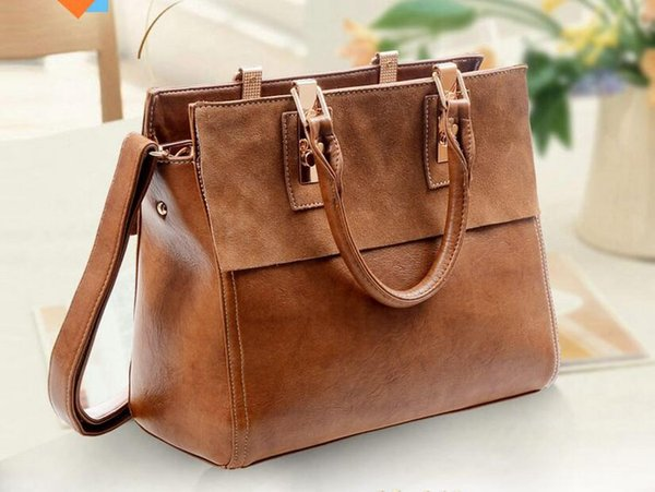 Women leather bags Restore leather bag Leather Briefcase Handbags strap Totes2016