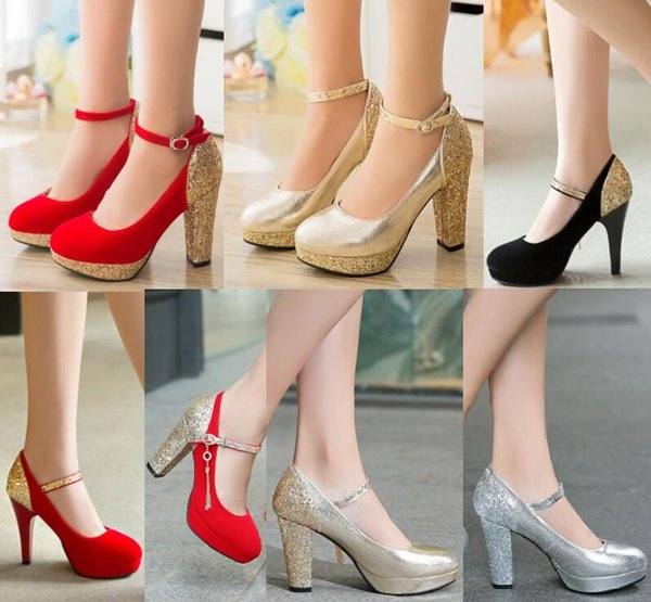 Wholesale-2016 Women Red Sole Ankle Strap High heels Sequins Thick Heel Platform Pumps Women Wedding Shoes Plus Size Black/Silver/Gold/Red