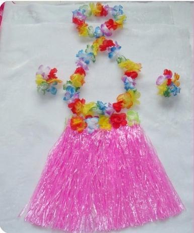 Venta al por mayor 20 Sets Hawaiian Hula Grass Skirt Set 40cm Luau Flower Falda Flower Lei Pulsera Diadema Niños Niños Envío gratis