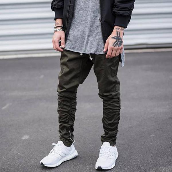 Super barato 100% genuino marca famosa Compre Negro / Verde Hip Hop Moda Pantalones Con Cremalleras ...