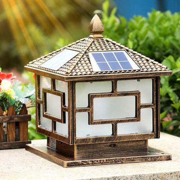 Wonderful Solar Power Led Post Lights Super Bright Outdoor Waterproof Garden Lights  LED Solar Lights Home Post Lamps Outdoor Villa Deck Yark