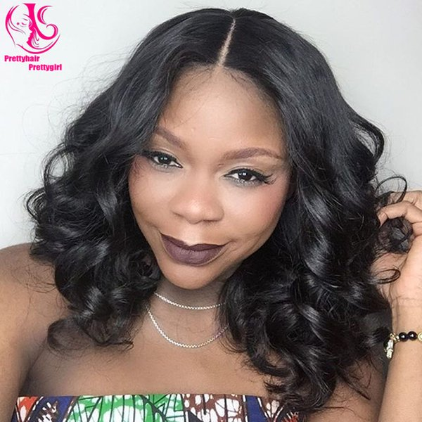 HOT ! Popular Cheap synthetic lace front wigs black wig 150% density short loose wave Bob wigs heat resistant glueless lace front wigs
