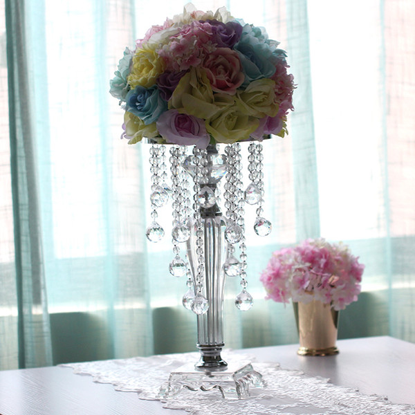 2018 Fashion Wedding Crystal Table Centerpieces Flower Vase Candy Bar Decoration Wedding Flower Holder Cake Stand Party Home Table Decor70cm Used