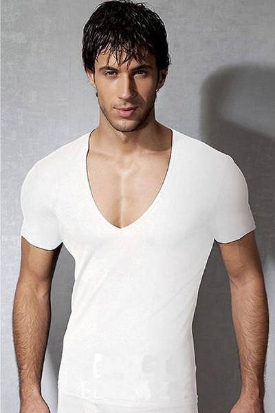 Hot Men's Summer Deep V-neck Short Sleeve Tight-fitting Sports T-shirts For Men Sexy Black Active Running Slim Tops Tees Shirts