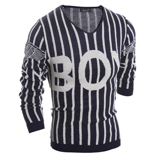 Al por mayor-Classic para hombre patrón de suéter a rayas carta con cuello en v casual mens jumpers suéter suéter masculino diseñador de punto suéteres de punto 9019
