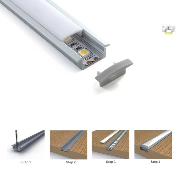 100 insiemi X 2M / lotto flangia lineare in alluminio ha portato abitative profilo super slim canali profilo in alluminio da incasso a led per le luci del soffitto