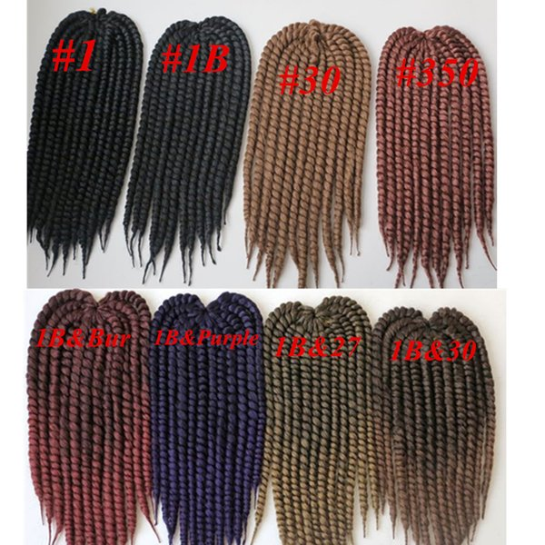 top popular Kanekalon synthetic braiding hair havana mambo twist crochet 110g 18inch single Ombre color jumbo braids hair extensions more colors 2019