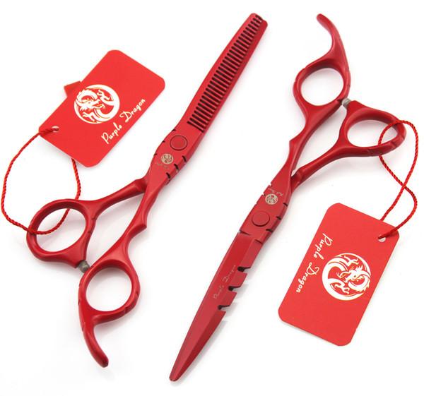 508 # 5.5 '' TOP GRADE Red Forbici per parrucchiere JP 440C 62HRC Home Salon Barbieri Forbici da taglio Cesoie per capelli Forbici da taglio