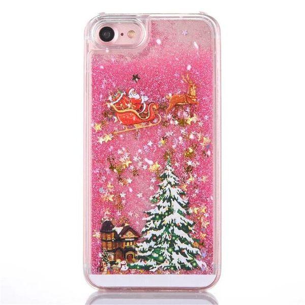 Novo presente de natal case para iphone 5 5s se 6 6 s 7 plus glitter star líquido árvores de natal rígido pc mobile phone case tampa traseira sacos