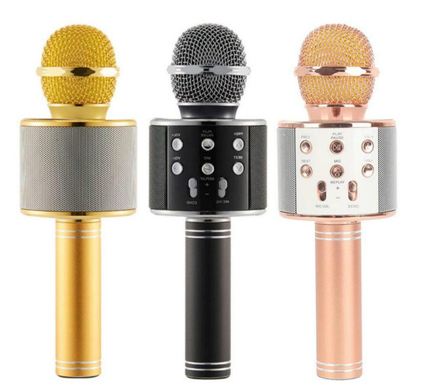 WS-858 Wireless Speaker Microphone Portable Karaoke Hifi Bluetooth Player for iphone 6 6s 7 ipad Samsung Tablets PC Freeshipping
