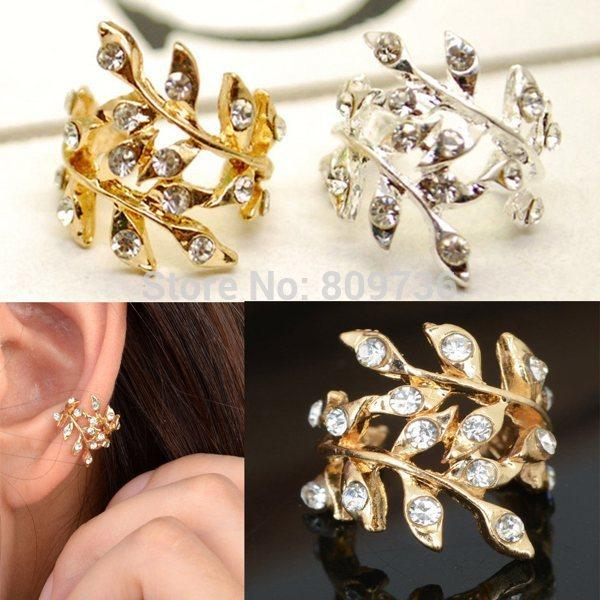 2pcs New Fashion Punk Chic Gold Tone Crystal Earring Leaf Ear Cuff Warp Clip Earrings for Women Jewelry Gift Drop Free